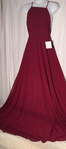 Lulus Red Wine cross strap open back free flowing